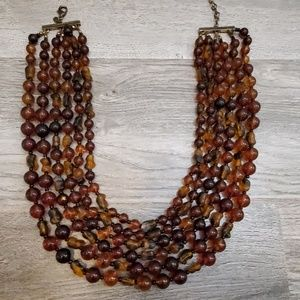 Multi-strand cognac beaded necklace